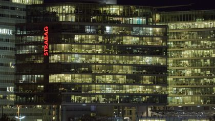 Office building by night - Vienna